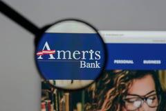 Μιλάνο, Ιταλία - 10 Αυγούστου 2017: Αρχική σελίδα ιστοχώρου Bancorp Ameris Στοκ Εικόνες
