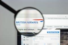 Μιλάνο, Ιταλία - 10 Αυγούστου 2017: Αρχική σελίδα ιστοχώρου British Airways Στοκ φωτογραφίες με δικαίωμα ελεύθερης χρήσης