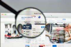 Μιλάνο, Ιταλία - 10 Αυγούστου 2017: Αρχική σελίδα ιστοχώρου British Airways Στοκ φωτογραφία με δικαίωμα ελεύθερης χρήσης