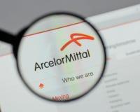 Μιλάνο, Ιταλία - 10 Αυγούστου 2017: Λογότυπο Mittal Arcelor στο websi Στοκ Φωτογραφία
