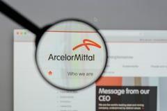 Μιλάνο, Ιταλία - 10 Αυγούστου 2017: Λογότυπο Mittal Arcelor στο websi Στοκ φωτογραφίες με δικαίωμα ελεύθερης χρήσης