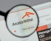 Μιλάνο, Ιταλία - 10 Αυγούστου 2017: Λογότυπο Mittal Arcelor στο websi Στοκ Φωτογραφίες