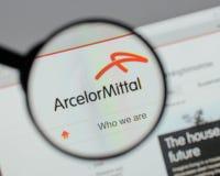 Μιλάνο, Ιταλία - 10 Αυγούστου 2017: Λογότυπο Mittal Arcelor στο websi Στοκ εικόνα με δικαίωμα ελεύθερης χρήσης