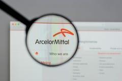 Μιλάνο, Ιταλία - 10 Αυγούστου 2017: Λογότυπο Mittal Arcelor στο websi Στοκ εικόνες με δικαίωμα ελεύθερης χρήσης