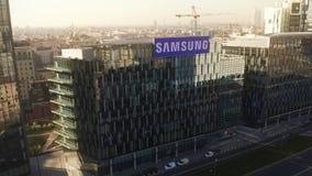 Μιλάνο, Ιταλία - 5 Ιανουαρίου 2019 Εναέρια άποψη του καταστήματος περιοχής της Samsung στοκ εικόνες