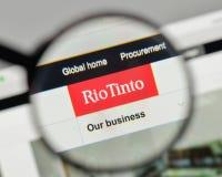 Μιλάνο, Ιταλία - 1 Νοεμβρίου 2017: Λογότυπο του Ρίο Tinto στον ιστοχώρο χ Στοκ Εικόνες