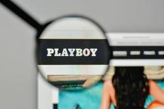 Μιλάνο, Ιταλία - 1 Νοεμβρίου 2017: Λογότυπο Playboy στον ιστοχώρο hom Στοκ Εικόνες