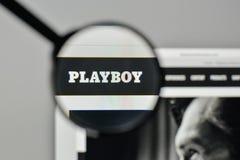 Μιλάνο, Ιταλία - 1 Νοεμβρίου 2017: Λογότυπο Playboy στον ιστοχώρο hom Στοκ Φωτογραφίες