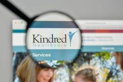 Μιλάνο, Ιταλία - 1 Νοεμβρίου 2017: Kindred λογότυπο υγειονομικής περίθαλψης Στοκ φωτογραφία με δικαίωμα ελεύθερης χρήσης