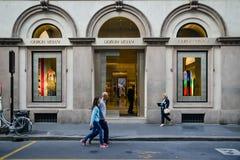Μιλάνο - 24 Σεπτεμβρίου 2017: Κατάστημα του Giorgio Armani στο Μιλάνο Στοκ Εικόνες