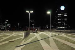 ΜΙΛΑΝΟ, ΣΤΙΣ 18 ΙΑΝΟΥΑΡΊΟΥ 2018: Εικονική παράσταση πόλης nocturne σε Portello, Μιλάνο, νέα σύγχρονη περιοχή Στοκ Φωτογραφία