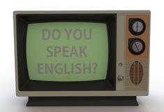 ΜΙΛΑΤΕ ΤΑ ΑΓΓΛΙΚΑ; , μήνυμα στην εκλεκτής ποιότητας TV Στοκ Φωτογραφία