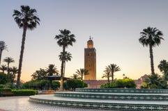 Μιναρές του μουσουλμανικού τεμένους Koutoubia το πρωί στο Μαρακές στοκ φωτογραφία με δικαίωμα ελεύθερης χρήσης