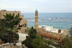 Μιναρές του μουσουλμανικού τεμένους Al-Bahr στην παλαιά πόλη Jaffa, Ισραήλ Στοκ εικόνες με δικαίωμα ελεύθερης χρήσης