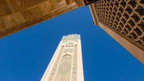 Μιναρές του Χασάν ΙΙ μουσουλμανικό τέμενος στη Καζαμπλάνκα, Μαρόκο στοκ εικόνες με δικαίωμα ελεύθερης χρήσης