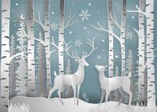 Μινιμαλισμός των ελαφιών χειμερινών εποχής και ημέρας των Χριστουγέννων κάτω από το vie ελεύθερη απεικόνιση δικαιώματος