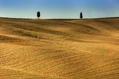 Μινιμαλισμός των Tuscan λόφων στην Ιταλία Στοκ Φωτογραφίες