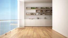 Μινιμαλιστική άσπρη και ξύλινη κουζίνα με το πάτωμα παρκέ και το μεγάλο πανοραμικό παράθυρο Ωκεάνιο πανόραμα θάλασσας με το μπλε  απεικόνιση αποθεμάτων