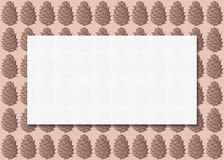Μινιμαλιστική εξασθενισμένη ευχετήρια κάρτα εκλεκτής ποιότητας απεικόνιση με το σχέδιο κώνων κέδρων, το ανοικτό καφέ υπόβαθρο και ελεύθερη απεικόνιση δικαιώματος