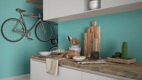 Μινιμαλιστικός σύγχρονος στενός επάνω κουζινών με το υγιές πρόγευμα, το σύγχρονο άσπρο και τυρκουάζ εσωτερικό σχέδιο στοκ εικόνες