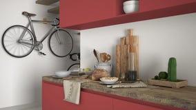 Μινιμαλιστικός σύγχρονος στενός επάνω κουζινών με το υγιές πρόγευμα, το σύγχρονο άσπρο και κόκκινο εσωτερικό στοκ φωτογραφία