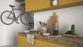 Μινιμαλιστικός σύγχρονος στενός επάνω κουζινών με το υγιές πρόγευμα, το σύγχρονο άσπρο και κίτρινο εσωτερικό στοκ φωτογραφίες