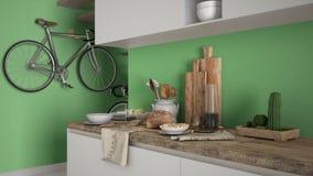 Μινιμαλιστικός σύγχρονος στενός επάνω κουζινών με το υγιές πρόγευμα, το σύγχρονο άσπρο και πράσινο εσωτερικό στοκ εικόνα με δικαίωμα ελεύθερης χρήσης