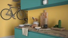 Μινιμαλιστικός σύγχρονος στενός επάνω κουζινών με το υγιές πρόγευμα, το χρωματισμένο σύγχρονο κίτρινο και τυρκουάζ εσωτερικό στοκ φωτογραφία με δικαίωμα ελεύθερης χρήσης