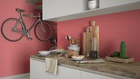 Μινιμαλιστικός σύγχρονος στενός επάνω κουζινών με το υγιές πρόγευμα, το σύγχρονο άσπρο και κόκκινο εσωτερικό στοκ εικόνα με δικαίωμα ελεύθερης χρήσης