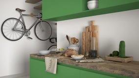 Μινιμαλιστικός σύγχρονος στενός επάνω κουζινών με το υγιές πρόγευμα, το σύγχρονο άσπρο και πράσινο εσωτερικό στοκ φωτογραφία με δικαίωμα ελεύθερης χρήσης