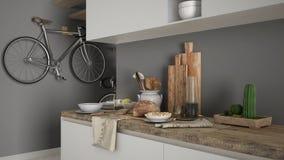 Μινιμαλιστικός σύγχρονος στενός επάνω κουζινών με το υγιές πρόγευμα, το σύγχρονο άσπρο και γκρίζο εσωτερικό στοκ εικόνες