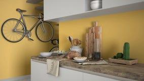 Μινιμαλιστικός σύγχρονος στενός επάνω κουζινών με το υγιές πρόγευμα, το σύγχρονο άσπρο και κίτρινο εσωτερικό στοκ εικόνα