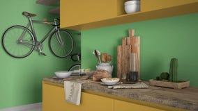 Μινιμαλιστικός σύγχρονος στενός επάνω κουζινών με το υγιές πρόγευμα, το χρωματισμένο σύγχρονο κίτρινο και πράσινο εσωτερικό σχέδι στοκ εικόνες