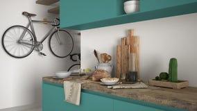Μινιμαλιστικός σύγχρονος στενός επάνω κουζινών με το υγιές πρόγευμα, το σύγχρονο άσπρο και τυρκουάζ εσωτερικό στοκ εικόνα