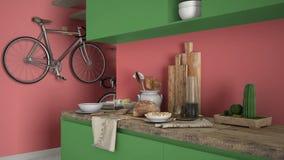 Μινιμαλιστικός σύγχρονος στενός επάνω κουζινών με το υγιές πρόγευμα, το χρωματισμένο σύγχρονο κόκκινο και πράσινο εσωτερικό στοκ εικόνες με δικαίωμα ελεύθερης χρήσης
