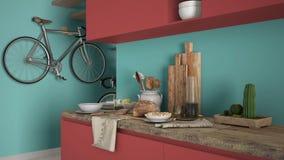 Μινιμαλιστικός σύγχρονος στενός επάνω κουζινών με το υγιές πρόγευμα, το χρωματισμένο σύγχρονο κόκκινο και τυρκουάζ εσωτερικό σχέδ στοκ φωτογραφία με δικαίωμα ελεύθερης χρήσης