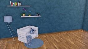 Μινιμαλιστικό εσωτερικό με τον καναπέ και τον κενό σκοτεινό τοίχο διανυσματική απεικόνιση