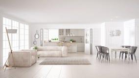 Μινιμαλιστική άσπρη διαβίωση και κουζίνα, Σκανδιναβικό κλασικό interi ελεύθερη απεικόνιση δικαιώματος
