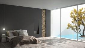 Μινιμαλιστική σύγχρονη κρεβατοκάμαρα με το μεγάλο παράθυρο που παρουσιάζει τον κήπο και swi ελεύθερη απεικόνιση δικαιώματος