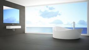 Μινιμαλιστικό άσπρο και γκρίζο λουτρό με το μεγάλο πανοραμικό παράθυρο, SU Στοκ εικόνες με δικαίωμα ελεύθερης χρήσης