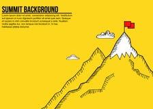 Μινιμαλιστικό έμβλημα της κορυφής και της κόκκινης σημαίας βουνών Στοκ εικόνα με δικαίωμα ελεύθερης χρήσης
