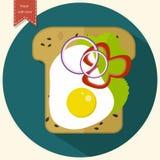 Μινιμαλιστικό εικονίδιο φρυγανιάς Σάντουιτς με τα αυγά, πιπέρια, κρεμμύδια, μαρούλι Επίπεδο σχέδιο επίσης corel σύρετε το διάνυσμ Στοκ εικόνα με δικαίωμα ελεύθερης χρήσης