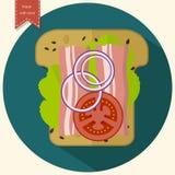 Μινιμαλιστικό εικονίδιο φρυγανιάς Σάντουιτς με το μπέϊκον, ντομάτα, κρεμμύδι, μαρούλι επίσης corel σύρετε το διάνυσμα απεικόνισης Στοκ φωτογραφίες με δικαίωμα ελεύθερης χρήσης