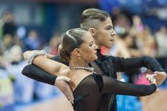 Μινσκ, 14.2015 λευκορωσικός-Φεβρουαρίου: Επαγγελματικό ζεύγος χορού του SH Στοκ Εικόνα