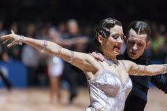 Μινσκ, 14.2015 λευκορωσικός-Φεβρουαρίου: Επαγγελματικό ζεύγος χορού Ko Στοκ Εικόνες