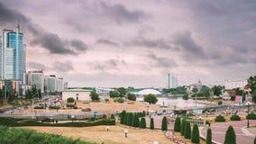 Μινσκ, Λευκορωσία Άποψη της σύγχρονης αρχιτεκτονικής του Μινσκ, σε Nemiga, περιοχή Nyamiha Διάσημη θέση Χρονικό σφάλμα, Timelapse φιλμ μικρού μήκους