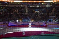 Μινσκ, Λευκορωσία, 09 01 2018 - αντιστοιχία Dinamo Μινσκ Λευκορωσία - Lokomotiv Yaroslavl Ρωσία χόκεϋ Στοκ φωτογραφίες με δικαίωμα ελεύθερης χρήσης