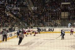 Μινσκ, Λευκορωσία, 09 01 2018 - αντιστοιχία Dinamo Μινσκ Λευκορωσία - Lokomotiv Yaroslavl Ρωσία χόκεϋ Στοκ φωτογραφία με δικαίωμα ελεύθερης χρήσης