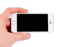 Μινσκ, Λευκορωσία - 16 Απριλίου 2016: IPhone της Apple 5, 5S Μπροστινή όψη Στοκ φωτογραφία με δικαίωμα ελεύθερης χρήσης