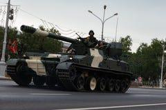 Μινσκ, Λευκορωσία - 1 Ιουλίου 2019: στρατιωτικός εξοπλισμός στο κέντρο πόλεων σε μια πρόβα για την παρέλαση της ημέρας της ανεξαρ στοκ εικόνα με δικαίωμα ελεύθερης χρήσης